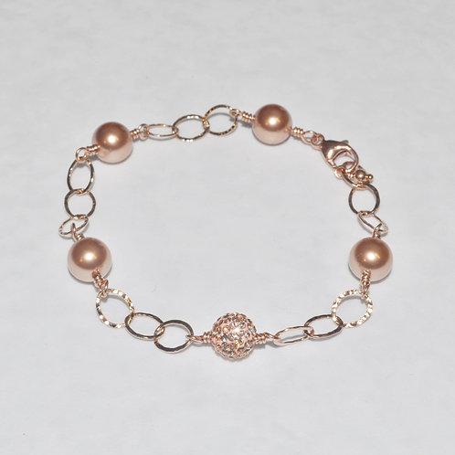 RG Pearl & RG Pave' Ball Chain Bracelet B020-RG