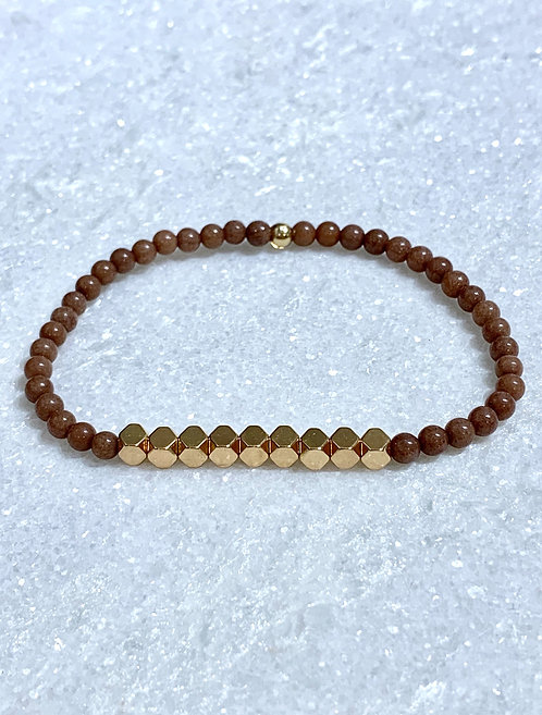 Brown Jade + Gold Hematite Stretch Bracelet B135-GF