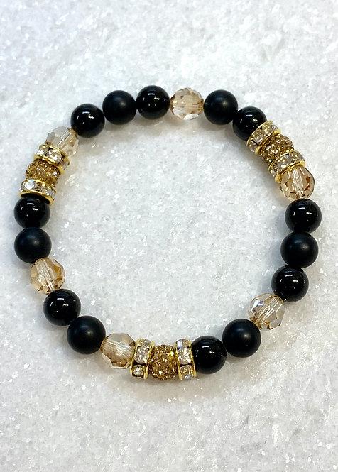 Triple Gold Pave' Ball & Bk Pearl Stretch Bracelet B127-GF
