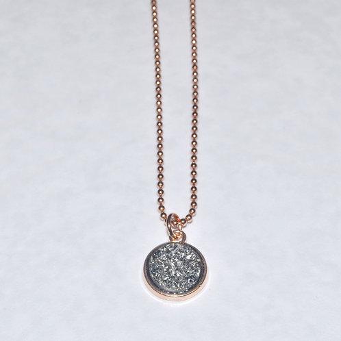 Silver Black Druzy Necklace NS018-RG