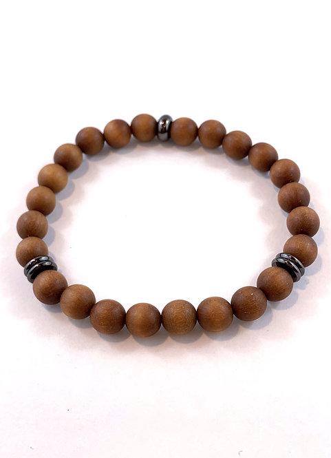 Men's Brown Sandlewood Stretch Bracelet B358-SS
