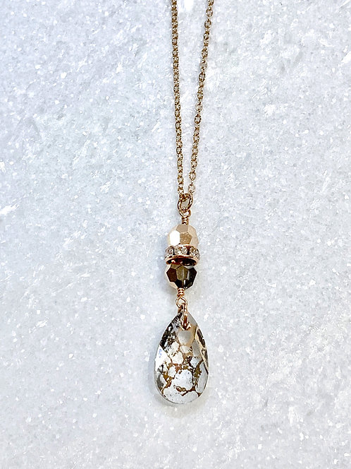 Rose Gold Patina Pear Necklace NL028-RG