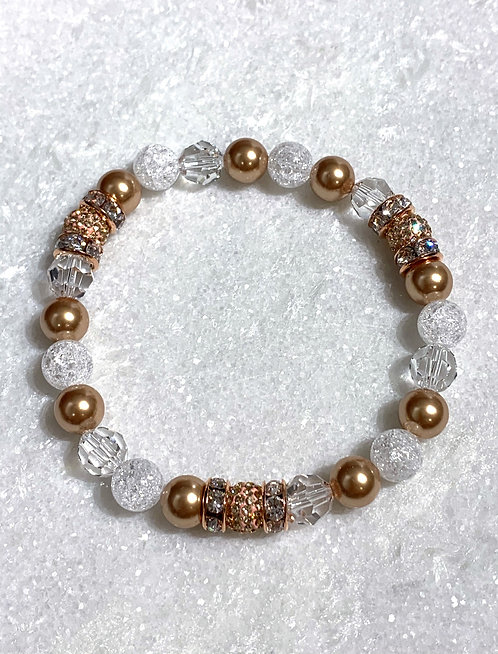Triple RG Pave' Ball & RG Pearl St Bracelet B283-SS