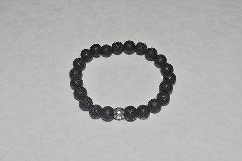 Ladies Black Lava Stone Bracelet B167-SS