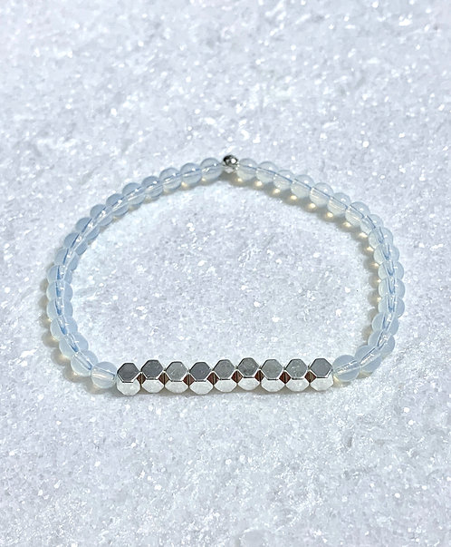 Opalite + Silver Hematite Stretch Bracelet B370-SS