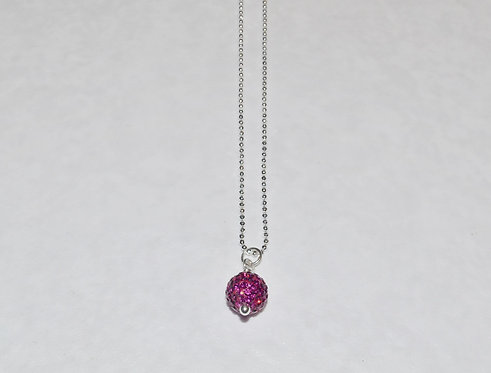 Fuchsia Pave' Ball Necklace NS141-SS