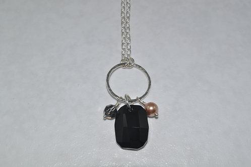 Black Anna Graphic Pendant Necklace   NL010-SS