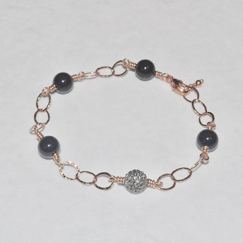 Black Pearl & Pave' Ball Chain Bracelet B033-RG