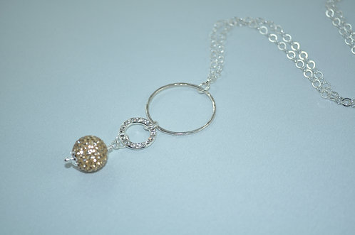 Gold Crystal Pave' Ball & Circle Necklace   NL026-SS