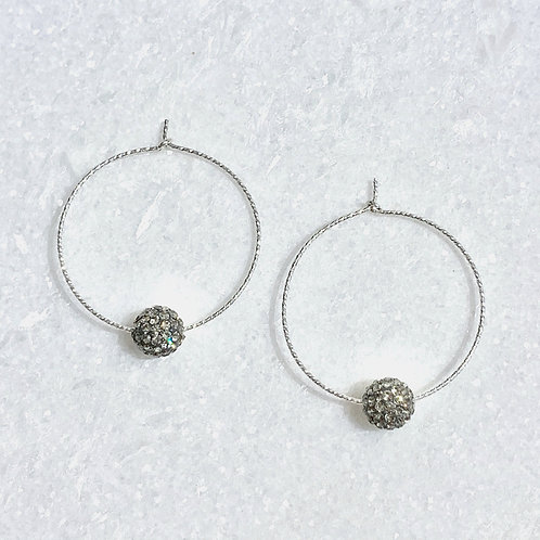 SS Sparkle Hoops/Bk Diamond Pave' Ball Earrings EST-224-SS