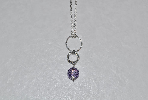 Tanzanite Pave' Ball & Circle Necklace NL091-SS