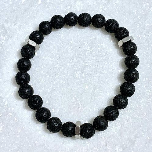 Men's Bk Lava + Nuts Stretch Bracelet B380-SS