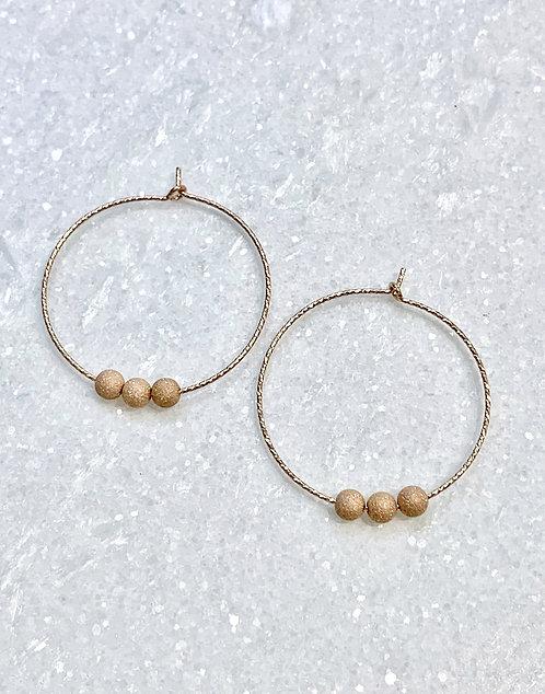 RG Sparkle  Hoops/Stardust Beads Earrings E081-RG