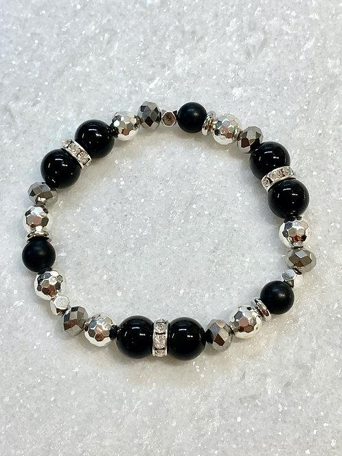 Bk Obsidian, Bk Onyx & Silver Hematite Stretch Bracelet B342-SS