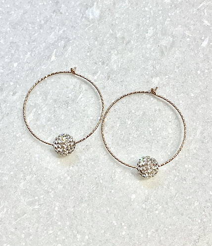 RG Sparkle Hoops/Crystal Pave' Balls Earrings E085-RG