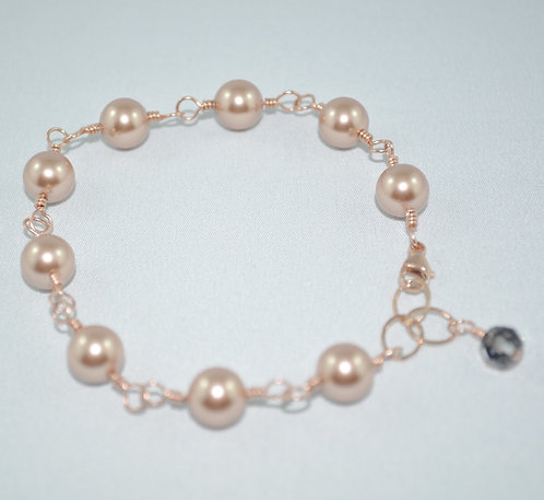Rose Gold Pearl Bracelet   B004-RG