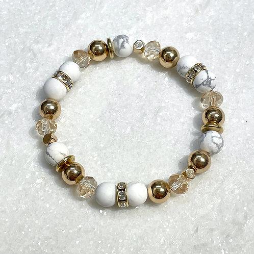 Howlite & Gold Hematite Stretch Bracelet B161-G
