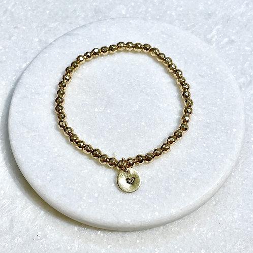 4mm Gold Hematite/Heart Charm Stretch Bracelet B164-GF