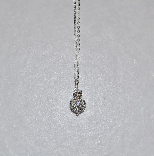 Crystal Pave' Ball Necklace NL092-SS