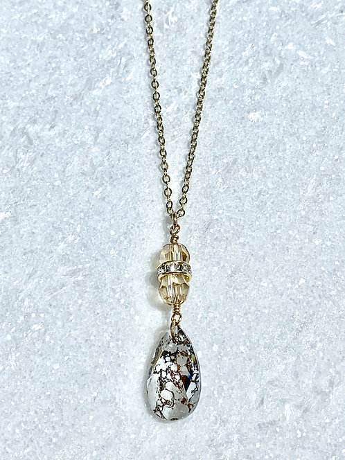 Gold Patina Pear Necklace NL050-GF