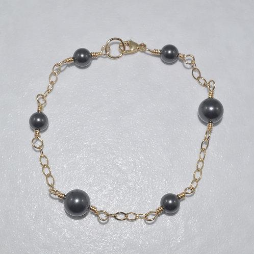 Black Pearl & Chain Bracelet   B012-GF