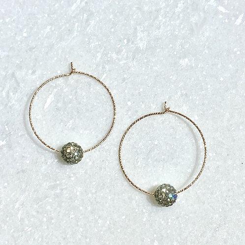 RG Sparkle Hoops/Bk Diamond Pave' Ball Earrings E090-RG
