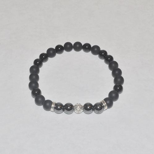 Men's Hematite & Black Onyx Stretch Bracelet  B212-SS