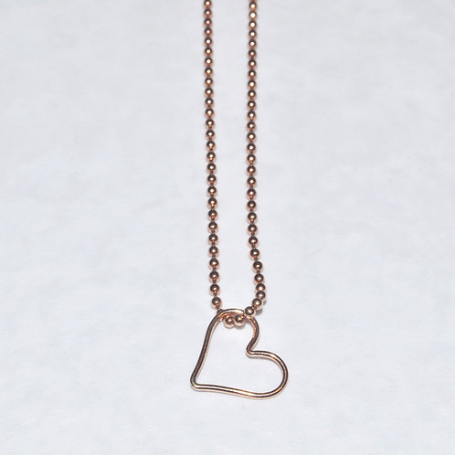 Rose Gold Floating Heart Necklace NS007-RG
