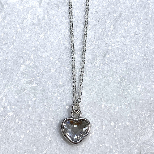 SS Heart/Crystal Necklace NS200-SS