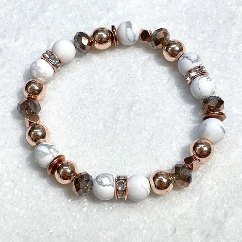 Howlite & RG Hematite Stretch Bracelet B110-RG
