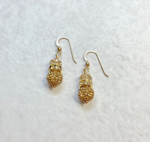Gold Pave' Ball Drop Earrings ESB013-GF