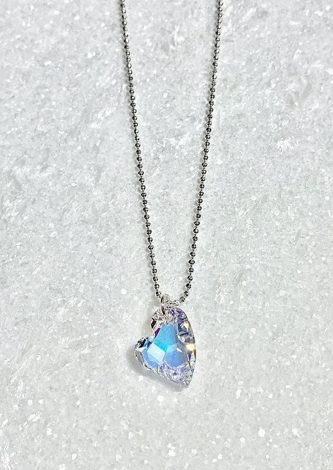 Aurora Borealis Heart Necklace NS165-SS