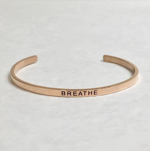 Rose Gold Mantra Cuff Bracelet - Breathe - B049-RG