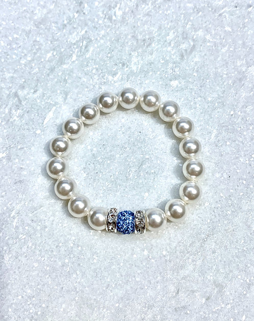 Kids Pearl & Pave' Ball Stretch Bracelet B152-SS
