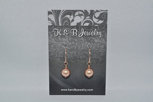Rose Gold Pearl Earrings  E001-RG