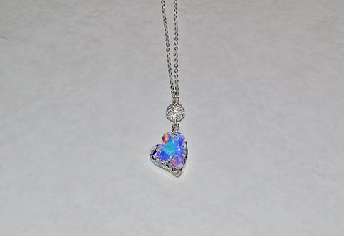 Aurora Borealis Devoted 2 U Heart & Pave' Ball Necklace NL123-SS