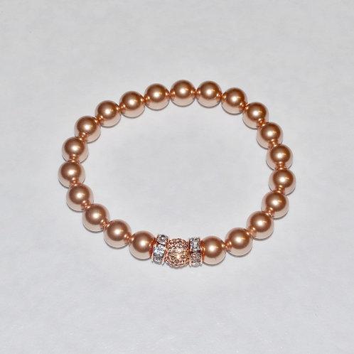 Pearl & Pave' Ball Stretch Bracelet B127-SS