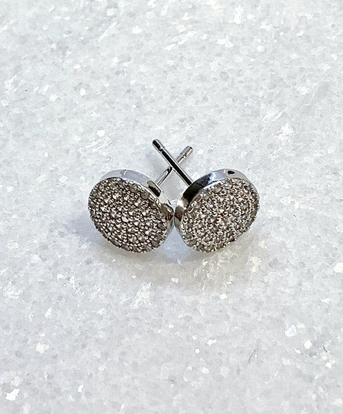 Silver Micro Pave' Circle Studs EST-167-SS