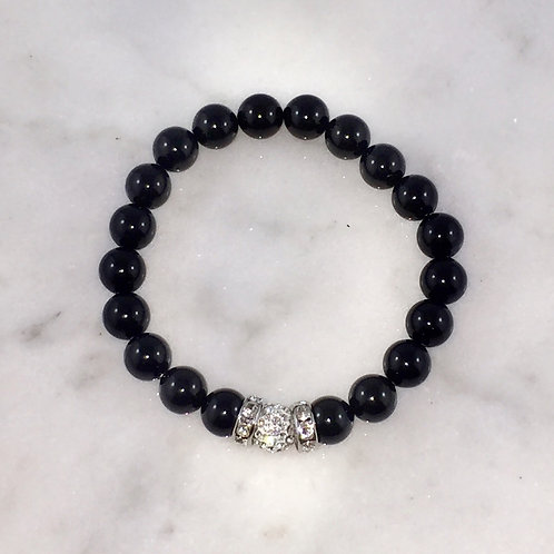 Pearl & Pave' Ball Stretch Bracelet B125-SS