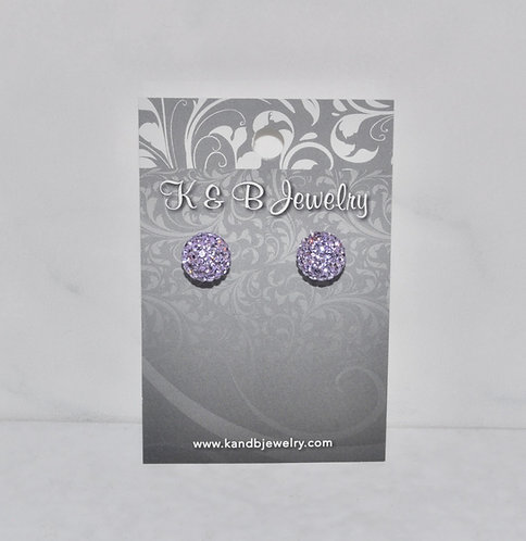 Tanzanite Crystal Pave' Ball Studs