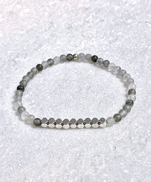 Natural Cloudy Quartz + Silver Hematite Stretch Bracelet  B371-SS