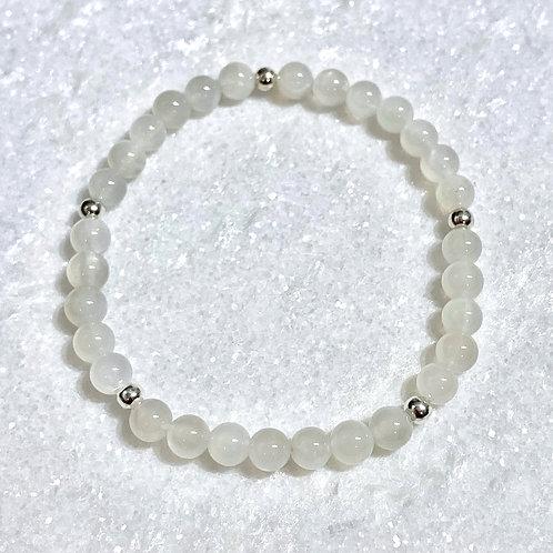 Moonstone & SS Bead Stretch Bracelet B373-SS