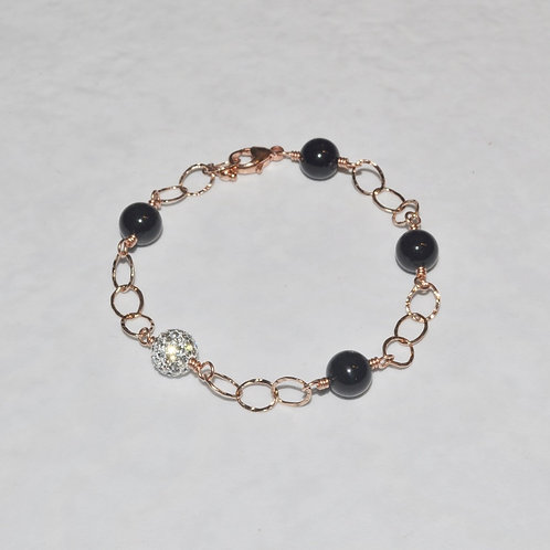 Black Pearl & Crystal Pave' Ball Chain Bracelet BO40-RG