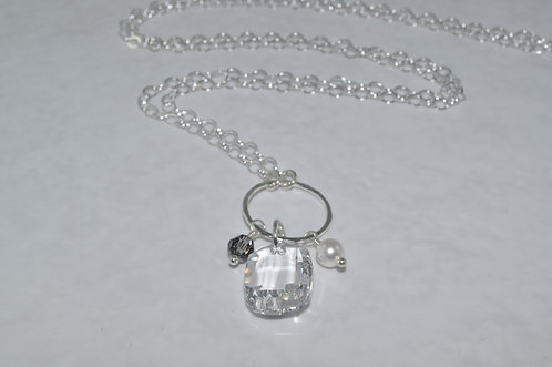 Crystal Anna Graphic Pendant Necklace   NL011-SS