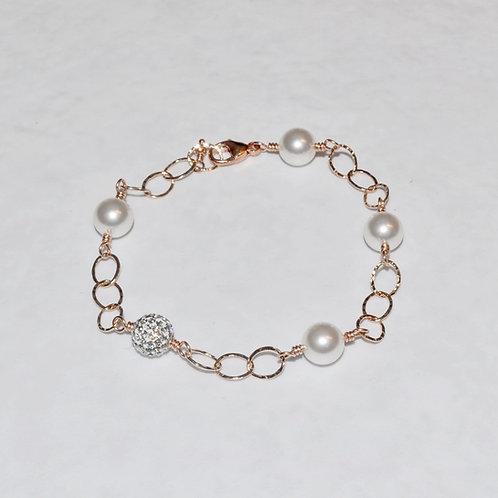 White Pearl & Pave' Ball Chain Bracelet B041-RG