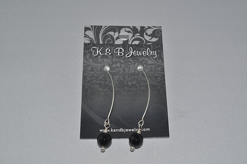 Faceted Black Onyx Earrings  EL004-SS