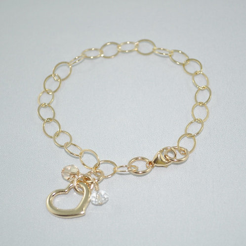 Gold Chain Floating Heart Bracelet   B005-GF
