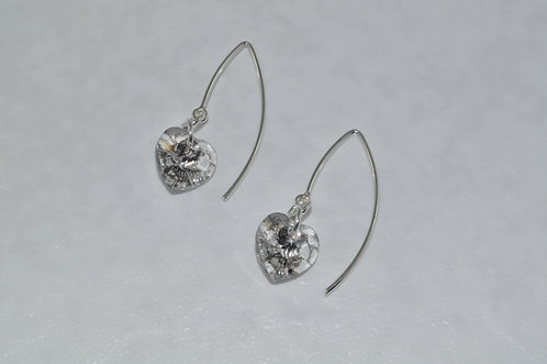 Silver Patina Heart Earrings  EM065-SS