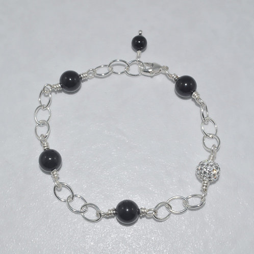 Pearl & Crystal Pave' Ball Chain Bracelet B070-SS