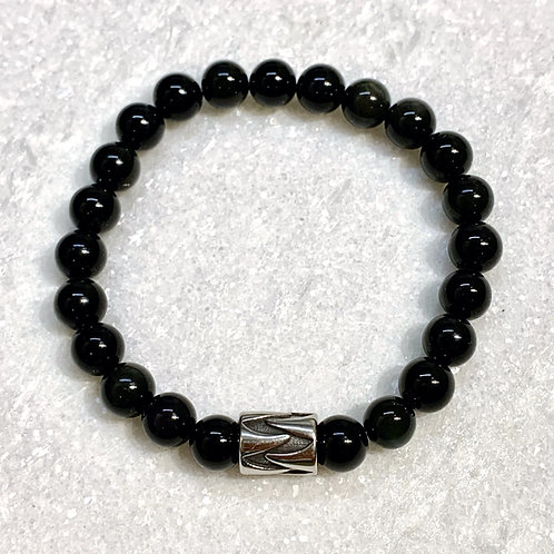 Men's Natural Obsidian Stretch Bracelet   B398-SS